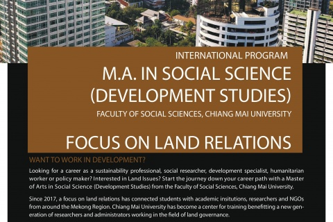 Call for applicants: MA in Social Science (Development Studies) - Focus on Land Relations - at Chiang Mai University. SCHOLARSHIPS ARE AVAILABLE