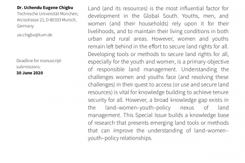 """Invitation to submit to a special issue publication on """"LAND, WOMEN, YOUTHS, AND LAND TOOLS OR METHODS"""""""