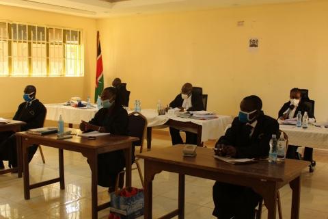 Judges Boaz Olao, Stephen Kibunja and Nelly Matheka at Mabanga FTC during the proceedings Image: JOHN NALIANYA