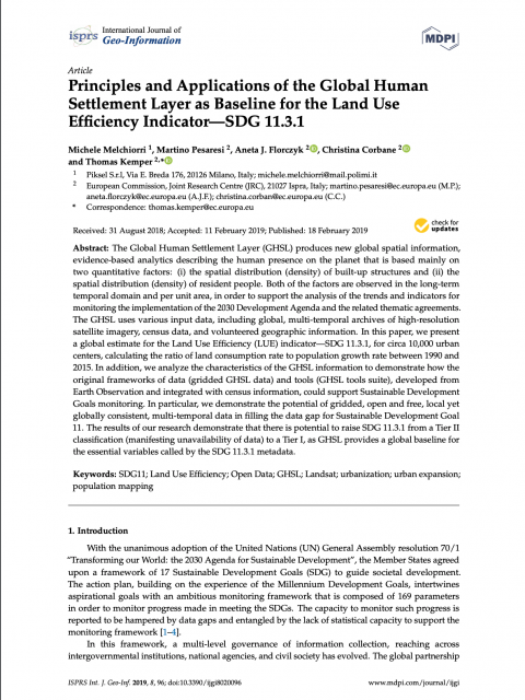 Principles and Applications of the Global Human Settlement Layer as Baseline for the Land Use Efficiency Indicator—SDG 11.3.1 cover image