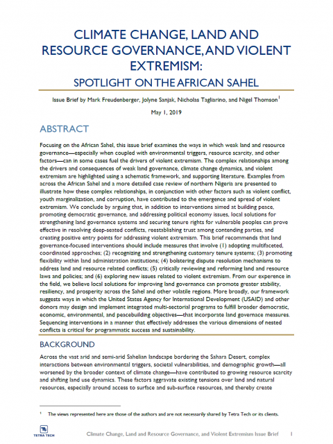 Climate Change, Land and Resource Governance, and Violent Extremism: Spotlight on the African Sahel