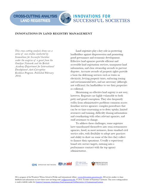 Innovations in Land Registry Management (Cross-Cutting)