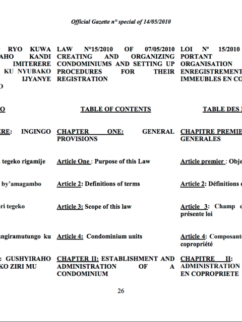 Law N° 15/2010 of 07/05/2010 Creating Condominiums and Setting Up Procedures for their Registration cover image