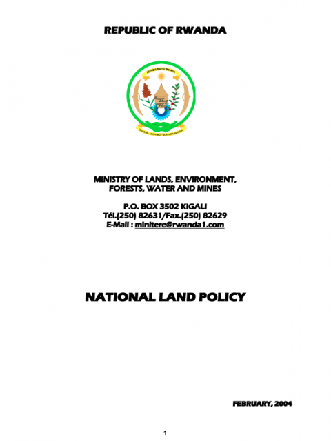 National Land Policy, Rwanda. cover image