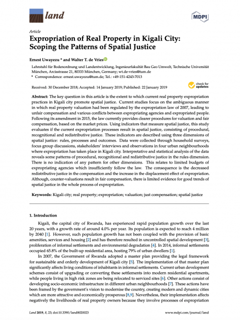 Expropriation of Real Property in Kigali City: Scoping the Patterns of Spatial Justice cover image
