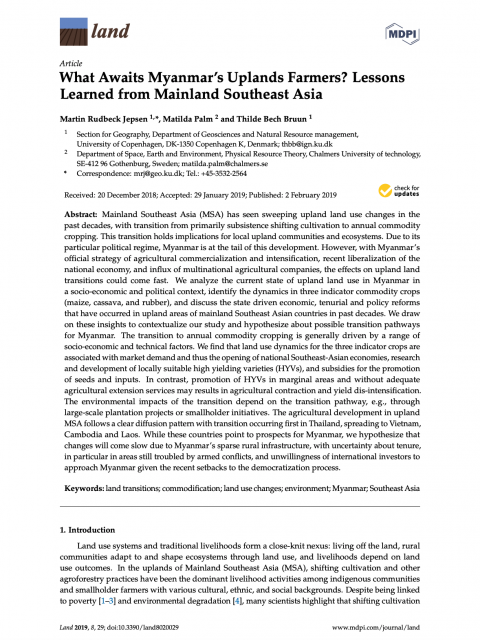 What Awaits Myanmar's Uplands Farmers? Lessons Learned from Mainland Southeast Asia cover image