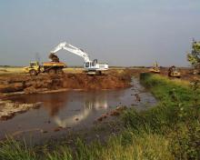 Construction works in Skjern River nature restoration project, Denmark
