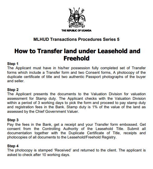 How to Transfer land under Leasehold and Freehold